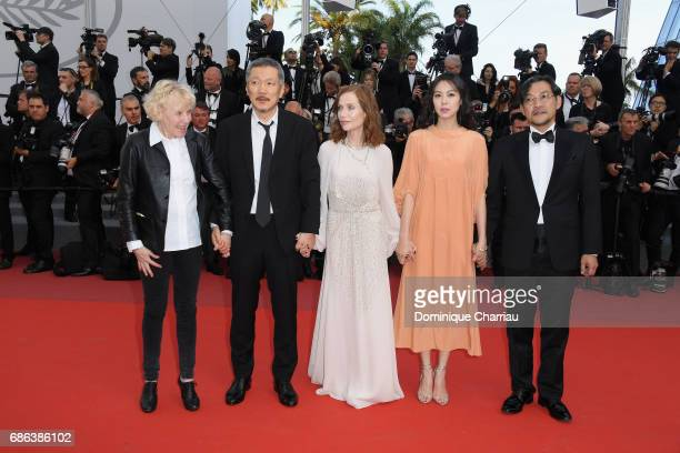 Claire Denis director Hong SangSoo Isabelle Hupert Kim Minheet and Jeong Jinyoung of 'Claire's Camera ' walk the red carpet ahead of the 'The...