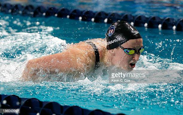 Claire Donahue competes in the Women's 200m Butterfly during the Duel in the Pool at the Georgia Tech Aquatic Center on December 17 2011 in Atlanta...