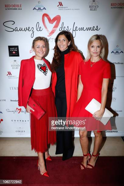 Claire DurocDanner Karine Journo and Marie Saldmann attend the Sauvez le Coeur des Femmes Red Defile Show at Hotel Marriot on November 16 2018 in...