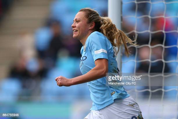 Claire Emsley of Manchester City Women celebrates scoring her sides second goal during the FA WSL Continental Tyres Cup between Manchester City Women...