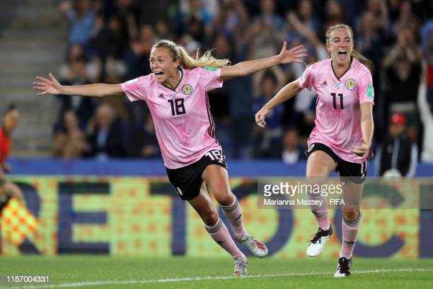 Claire Emslie and Lisa Evans of Scotland celebrates their team's third goal during the 2019 FIFA Women's World Cup France group D match between...