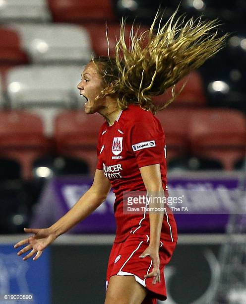 Claire Emslie of Bristol City Women celebrates scoring the first goal of the game during the WSL 2 match between Everton Ladies and Bristol City...