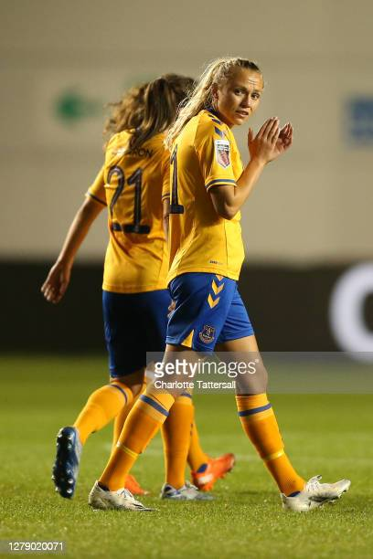 Claire Emslie of Everton Ladies celebrates after her teammate Danielle Turner of Everton Ladies scored their team's first goal during the FA Women's...