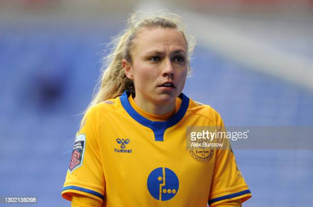 Claire Emslie of Everton looks on during the Barclays FA Women's Super League match between Reading Women and Everton Women at Madejski Stadium on...