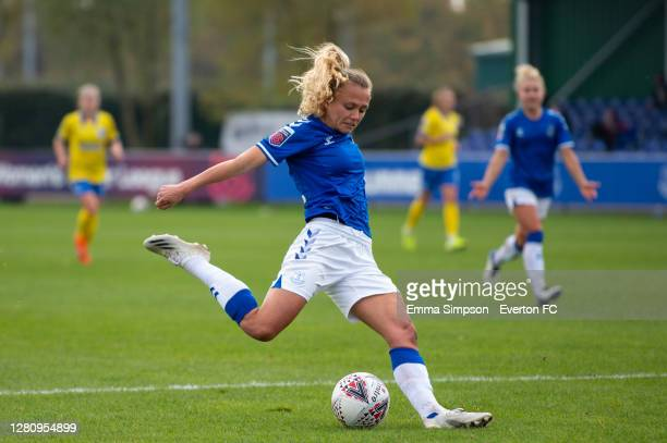 Claire Emslie of Everton prepares to shoot during the Barclays FA Women's Super League match between Everton Women and Brighton & Hove Albion Women...
