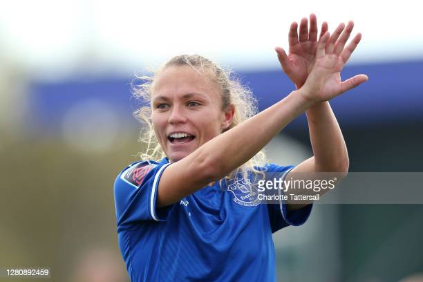 Claire Emslie of Everton reacts during the Barclays FA Women's Super League match between Everton Women and Brighton & Hove Albion Women at Walton...