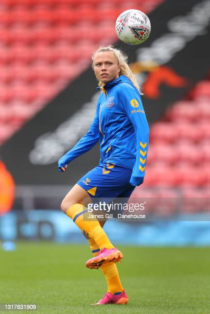 Claire Emslie of Everton Women warms up prior to the Barclays FA Women's Super League match between Manchester United Women and Everton Women at...