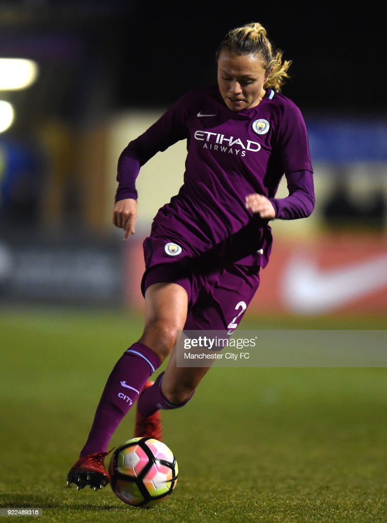 Claire Emslie of Manchester City Women during the WSL match between Birmingham City Ladies and Manchester City Women at Damson Park on February 21, 2018 in Solihull, England.