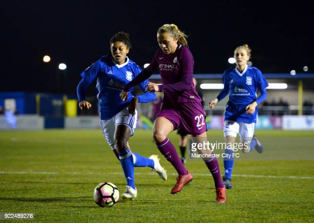 Claire Emslie of Manchester City Women is challenged by Jess Carter of Birmingham City Ladies during the WSL match between Birmingham City Ladies and...
