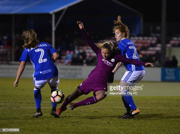 Claire Emslie of Manchester City Women is tackled by Aoife Mannon and Paige Williams of Birmingham City Ladies during the WSL match between...