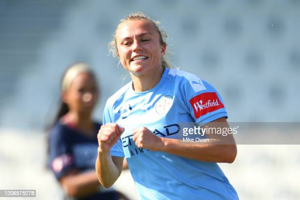 Claire Emslie of Melbourne City celebrates after scoring a goal during the round 12 W-League match between Melbourne Victory and Melbourne City at...