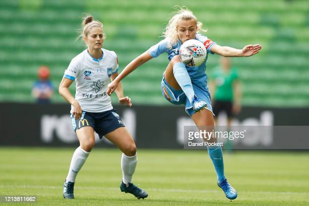 Claire Emslie of Melbourne City controls the ball during the 2020 W-League Grand Final match between Melbourne City and Sydney FC at AAMI Park on...