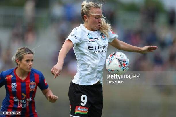 Claire Emslie of Melbourne City traps the ball during the round 1 W-League match between the Newcastle Jets and Melbourne City at No. 2 Sportsground...