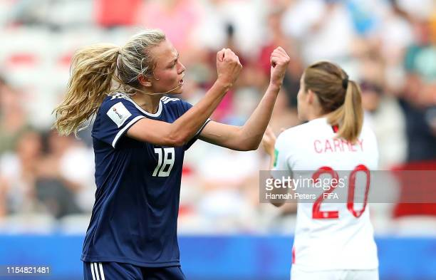 Claire Emslie of Scotland celebrates after scoring her team's first goal during the 2019 FIFA Women's World Cup France group D match between England...