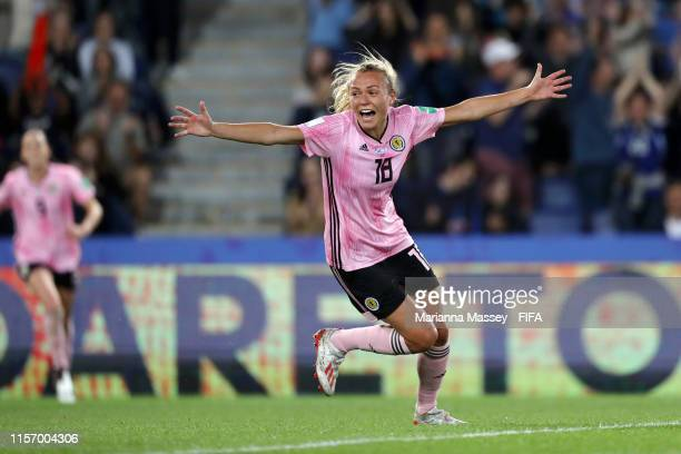 Claire Emslie of Scotland celebrates her team's third goal during the 2019 FIFA Women's World Cup France group D match between Scotland and Argentina...