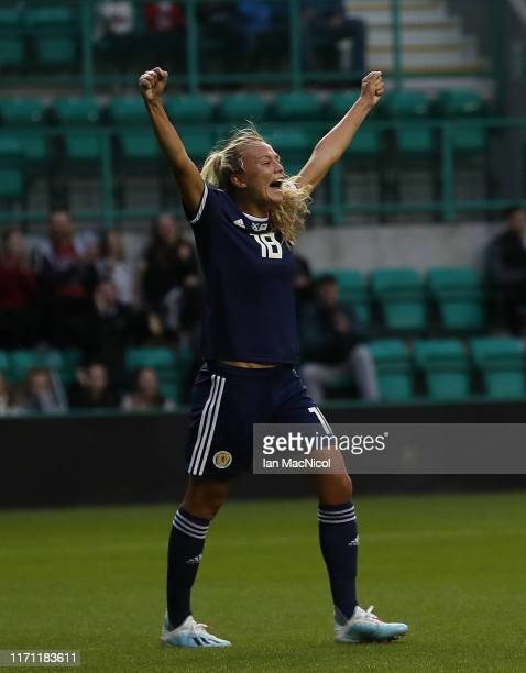 Claire Emslie of Scotland celebrates scoring the opening goal during the European Women's Championship 2021 Qualifying match between Scotland and...