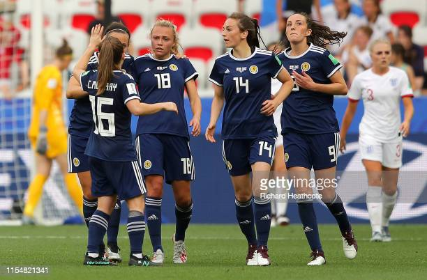 Claire Emslie of Scotland celebrates with teammates after scoring her team's first goal during the 2019 FIFA Women's World Cup France group D match...