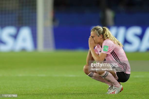 Claire Emslie of Scotland looks dejected following the 2019 FIFA Women's World Cup France group D match between Scotland and Argentina at Parc des...