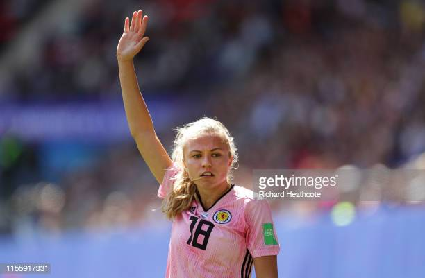 Claire Emslie of Scotland looks on during the 2019 FIFA Women's World Cup France group D match between Japan and Scotland at Roazhon Park on June 14,...