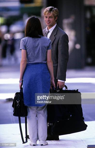 Claire Forlani and Brad Pitt during Meet Joe Black On Location at Streets of Manhattan in New York City New York United States