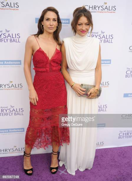 Claire Forlani and Rebecca Gayheart arrive at the 16th Annual Chrysalis Butterfly Ball at a private residence on June 3 2017 in Brentwood California