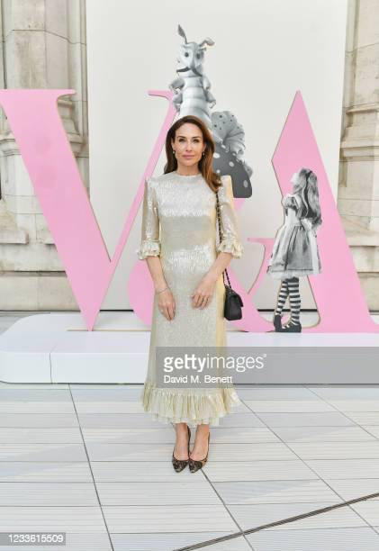 """Claire Forlani attends a private view of """"Alice: Curiouser and Curiouser"""" at The V&A on June 23, 2021 in London, England."""