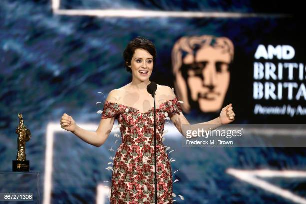Claire Foy accepts Britannia Award for British Artist of the Year presented by Burberry onstage at the 2017 AMD British Academy Britannia Awards...
