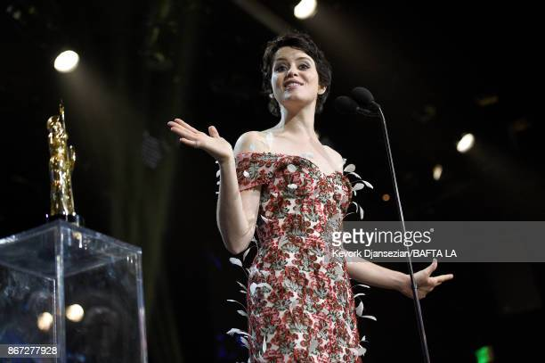Claire Foy accepts Britannia Award for British Artist of the Year presented by Burberry at the 2017 AMD British Academy Britannia Awards Presented by...