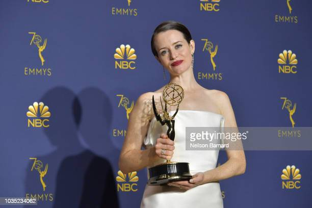 Claire Foy accepts the award for Outstanding Lead Actress in a Drama Series 'The Crown' during the 70th Emmy Awards on September 17 2018 in Los...