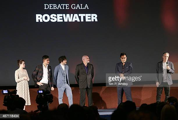 Claire Foy Amir ElMasry Dimitri Leonidas Kim Bodnia Maziar Bahari and Jon Stewart attend the screening of Rosewater during the 58th BFI London Film...