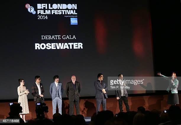 Claire Foy Amir ElMasry Dimitri Leonidas Kim Bodnia Maziar Bahari Jon Stewart and Clare Stewart attend the screening of Rosewater during the 58th BFI...