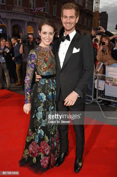 Claire Foy and Andrew Garfield attend the European Premiere of 'Breathe' during the opening night gala of the 61st BFI London Film Festival at Odeon...