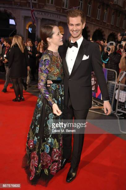 Claire Foy and Andrew Garfield attend the European Premiere of Breathe during the opening night gala of the 61st BFI London Film Festival at Odeon...