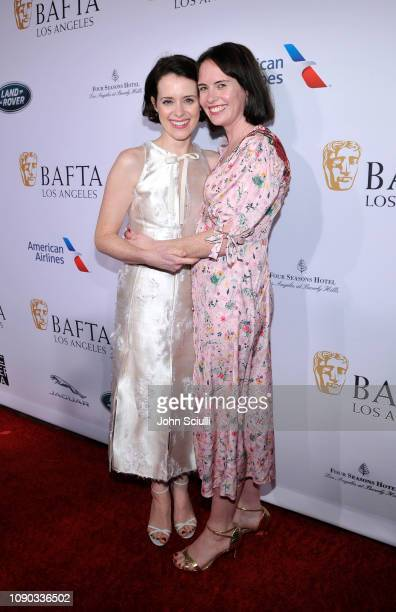 Claire Foy and Gemma Foy arrive to the BAFTA Tea Party at The Four Seasons Hotel Los Angeles at Beverly Hills on January 05 2019 in Beverly Hills...
