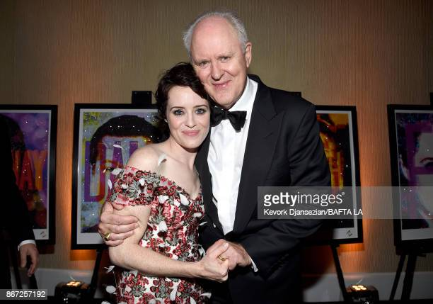 Claire Foy and John Lithgow attend the 2017 AMD British Academy Britannia Awards Presented by American Airlines And Jaguar Land Rover at The Beverly...
