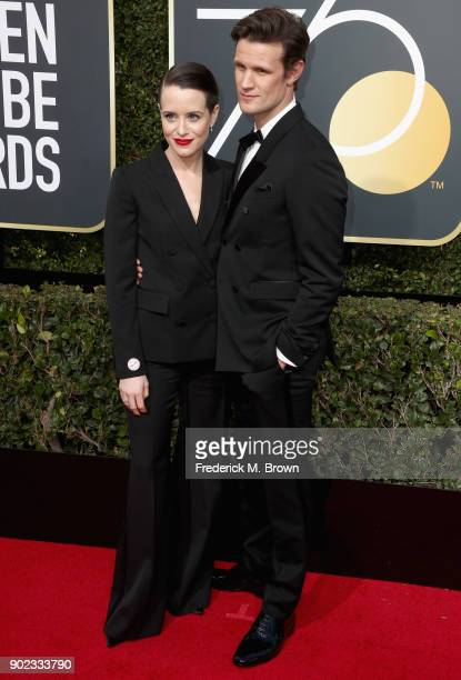 Claire Foy and Matt Smith attend The 75th Annual Golden Globe Awards at The Beverly Hilton Hotel on January 7 2018 in Beverly Hills California