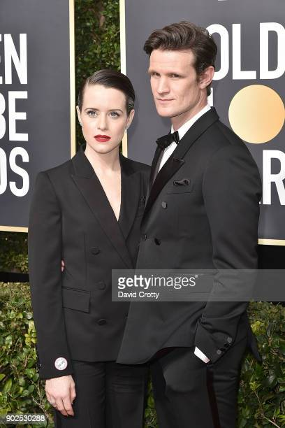 Claire Foy and Matt Smith attend the 75th Annual Golden Globe Awards Arrivals at The Beverly Hilton Hotel on January 7 2018 in Beverly Hills...