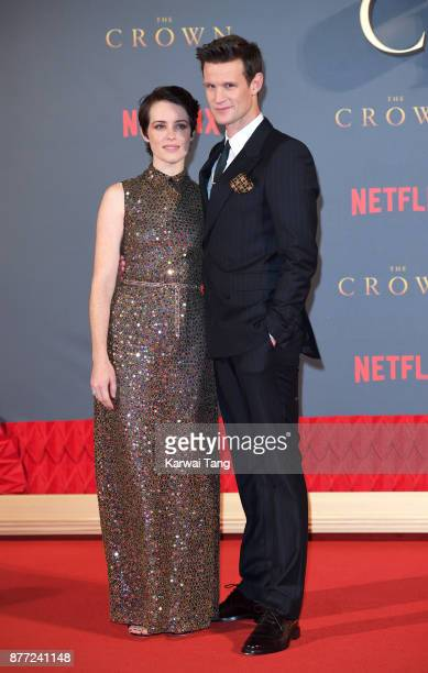 Claire Foy and Matt Smith attend the World Premiere of Netflix's 'The Crown' Season 2 at Odeon Leicester Square on November 21 2017 in London England