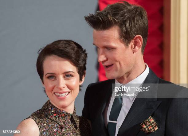 Claire Foy and Matt Smith attend the World Premiere of season 2 of Netflix 'The Crown' at Odeon Leicester Square on November 21 2017 in London England
