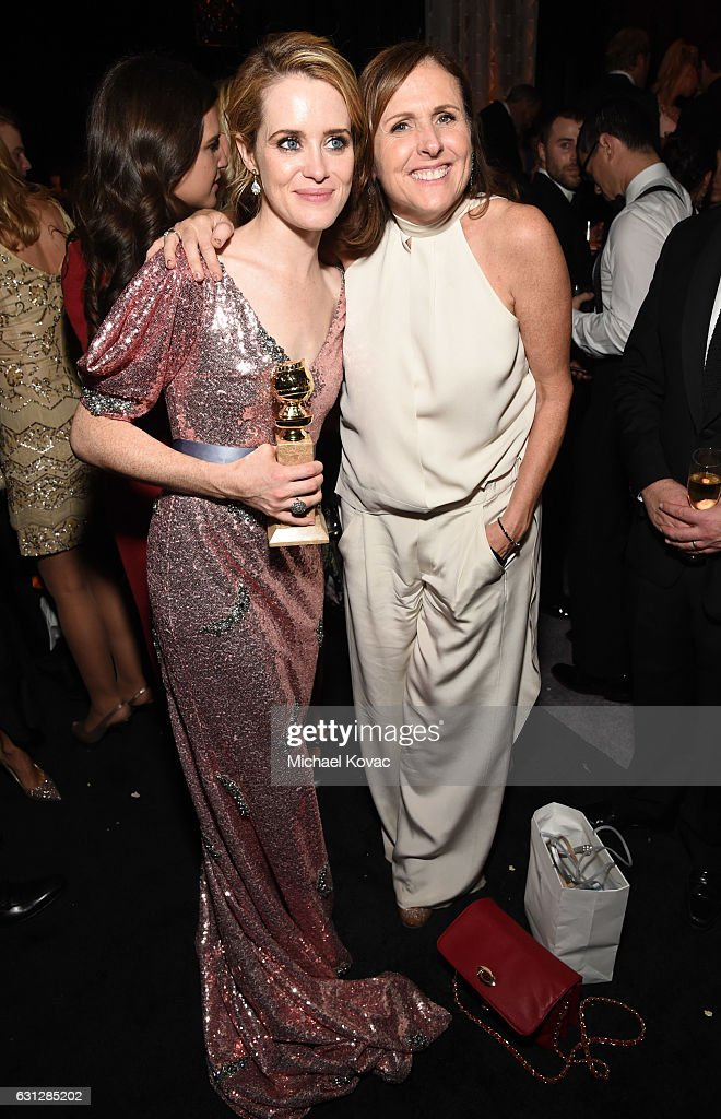Claire Foy and Molly Shannon attend The Weinstein Company and Netflix Golden Globe Party, presented with Moet & Chandon at The Beverly Hilton Hotel on January 8, 2017 in Beverly Hills, California.