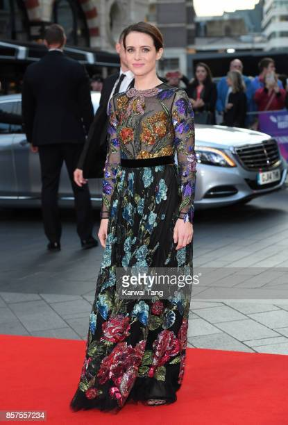Claire Foy attend the European Premiere of 'Breathe' on the opening night Gala of the 61st BFI London Film Festival at the Odeon Leicester Square on...