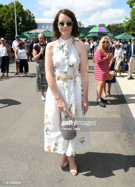 Claire Foy attends day 10 of the Wimbledon Tennis Championships at the All England Lawn Tennis and Croquet Club on July 11 2019 in London England