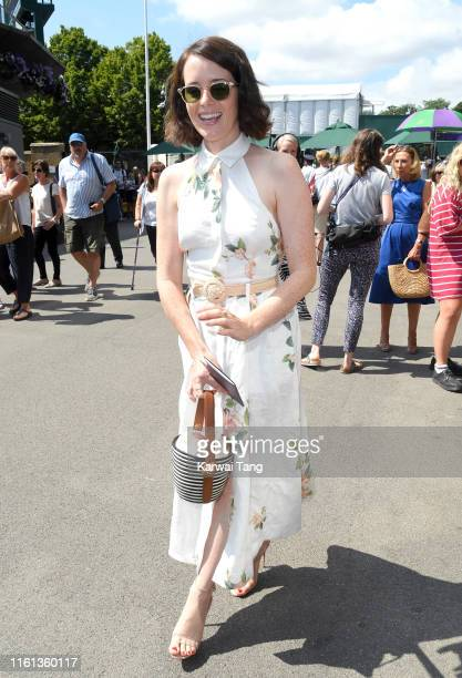 Claire Foy attends day ten of the Wimbledon Tennis Championships at All England Lawn Tennis and Croquet Club on July 11 2019 in London England