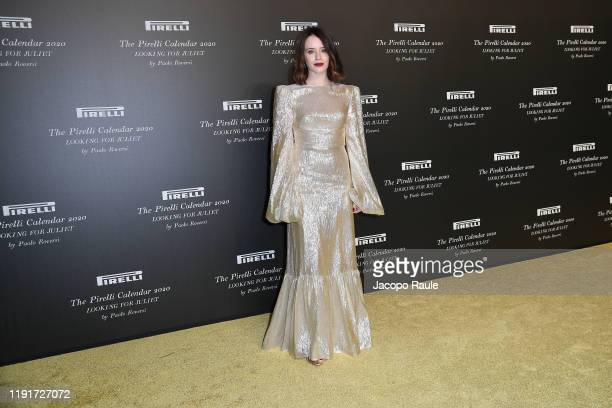 "Claire Foy attends the presentation of the Pirelli 2020 Calendar ""Looking For Juliet"" at Teatro Filarmonico on December 03, 2019 in Verona, Italy."