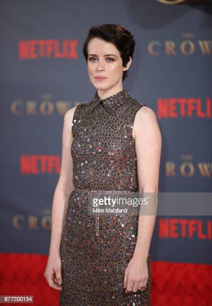 Claire Foy attends the World Premiere of season 2 of Netflix The Crown at Odeon Leicester Square on November 21 2017 in London England