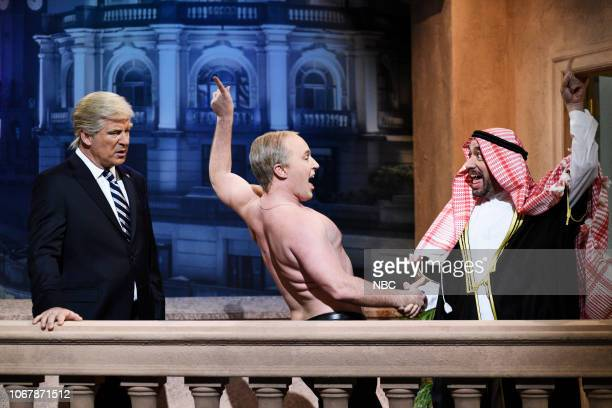 LIVE Claire Foy Episode 1753 Pictured Alec Baldwin as Donald Trump Beck Bennett as Vladimir Putin and Fred Armisen as Mohammed Bin Salman during the...
