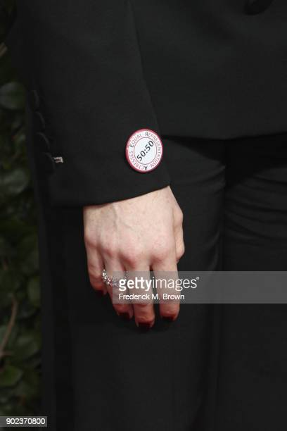 Claire Foy fashion detail attends The 75th Annual Golden Globe Awards at The Beverly Hilton Hotel on January 7 2018 in Beverly Hills California