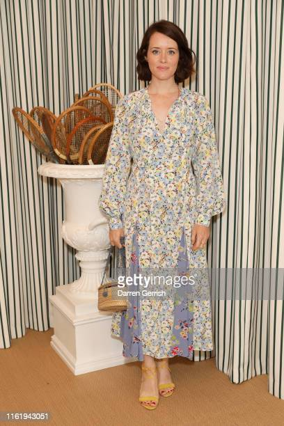 Claire Foy in Polo Ralph Lauren attends the Polo Ralph Lauren suite during the Wimbledon Tennis Championship Men's Final at All England Lawn Tennis...