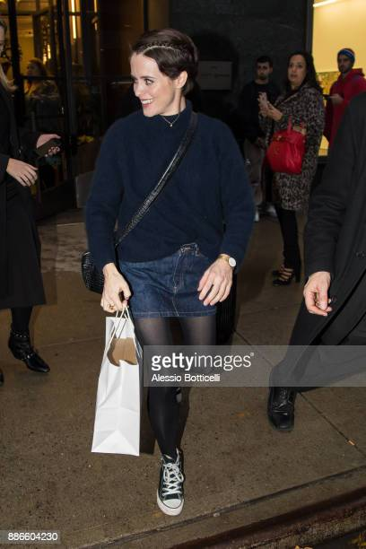 Claire Foy is seen leaving her hotel on December 5 2017 in New York New York