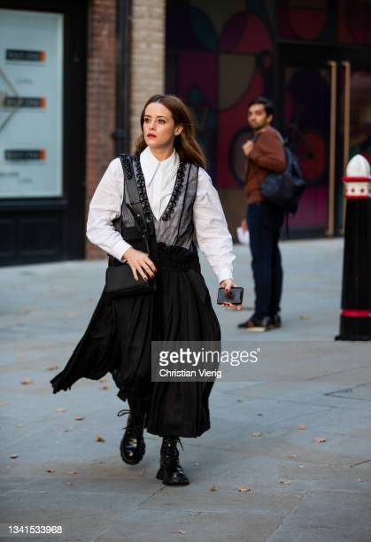 Claire Foy is seen outside Simone Rocha during London Fashion Week September 2021 on September 20, 2021 in London, England.